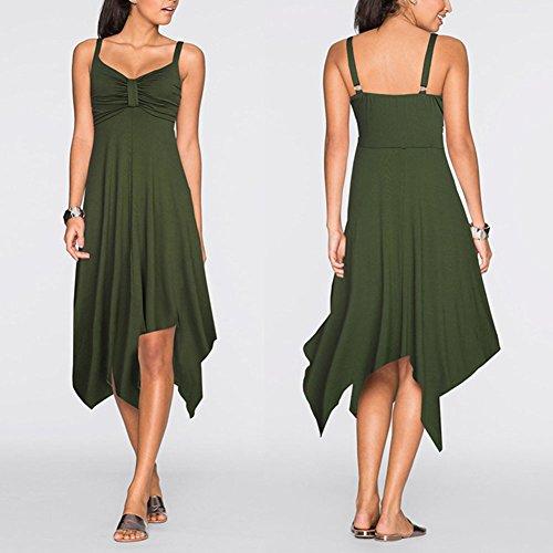 Femme Robe De Cocktail Retro Swing Ourlet Irrégulier Robe De Soirée Vert
