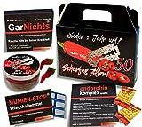 QUATSCHmanufaktur Koffer  / SCHARFES ALTER  / zum 50. Geburtstag (5-teilig) / Witzig / Partygeschenk...