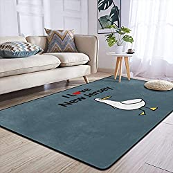 Heteyys I Love New Jersey Indoor Floor Mat Living Room Household Carpet Children Play Mat Rectangle Carpet 84x60 in,Black,One Size