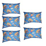 SONNASOFT 5 Pillow Color - White; Size - 16x24 Inches; Color Fastness Guarantee, Pillow Colour White and Free Cover Sky Blue Printed Teddy, Pack of 5 Pillow and Cover.
