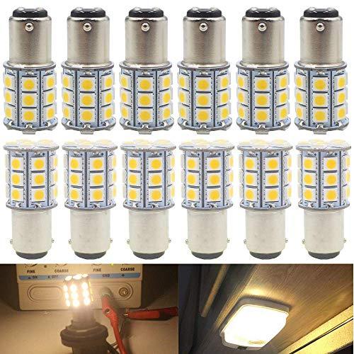 AMAZENAR 12-Pack 1142 1076 1176 Weiches warmes Weiß 3000k Licht 12V-DC, 5050 27 SMD Auto Ersatz für Innen-RV Beleuchtung Camper Blinker Licht Lampen Schwanz Backup Glühbirnen -