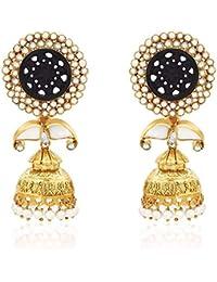Ahilya Jewels Jhumki .925 Sterling Silver Gold Plated Drop Earrings