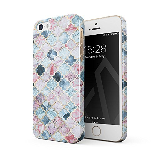 BURGA iPhone 5 / 5s / SE Case, Pink Beach Purple Moroccan Tiles Pattern Marrakesh Mosaic Thin Design Durable Hard Plastic Protective Case Apple iPhone 5 / 5s / SE
