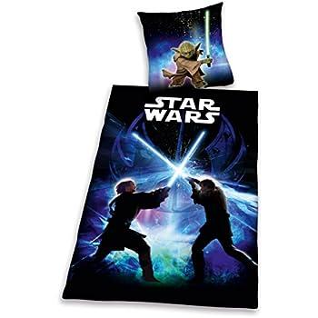 Herding 447245050412 Bettwäsche Star Wars, Kopfkissenbezug: 80 x 80 cm + Bettbezug: 135 x 200 cm, 100 % Baumwolle, Renforce