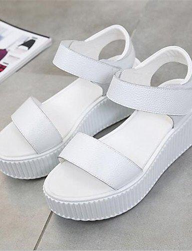 WSS 2016 Chaussures Femme-Décontracté-Noir / Blanc-Gros Talon-Talons-Chaussures à Talons-Polyuréthane black-us6.5-7 / eu37 / uk4.5-5 / cn37