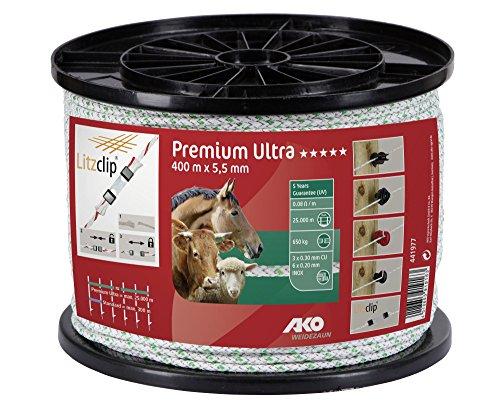 Kerbl Premium Ultra Seil, 5,5mm, 400m weiß/grün 6xniro 0,2+3xCU0,3 441977