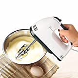 Saiyam Scarlett Hand Mixer - 7 Speed Egg Beater with Chrome Beater + Dough Hook (White, 180W)