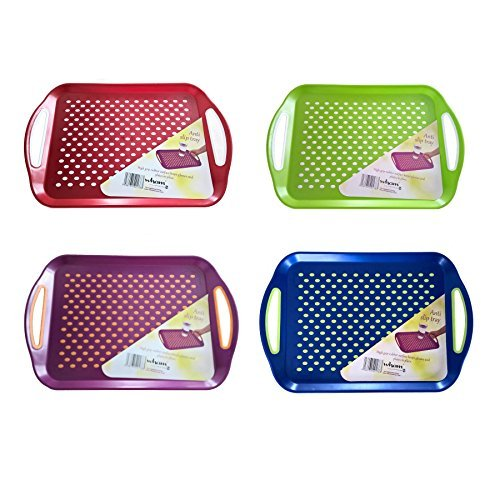 Anti Slip Plastic Serving Tray High Grip Rubber Surface Non-slip Padded Base - 4 colours red/blue/green/purple