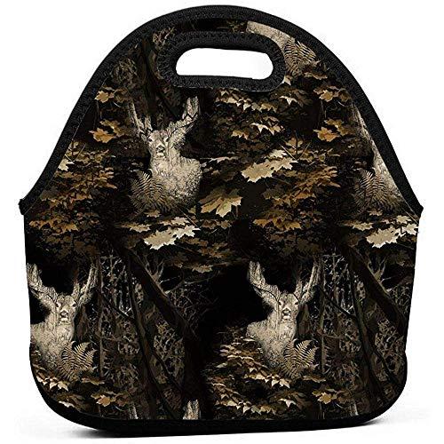 Lunch Bag Woodland Moose Camouflage Lunch Bag, Dicke Isolierte Lunchbox-Taschen, Stoffbeutel Mit Reißverschluss Für Kinderreisepicknick-Büro -