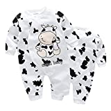 Yoyo-beb-recin-nacido-beb-Chica-Joven-dibujos-animados-vaca-patrn-impresin-parte-Traje-Mono-manga-larga-Body-Jumpsuit