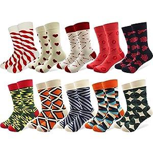 FANRUOM Socken 10 Paare der lustigen bunten gekämmten Baumwollglücklichen Socken des bunten Musters streiften Karikaturpunktneuheitkunstsocken