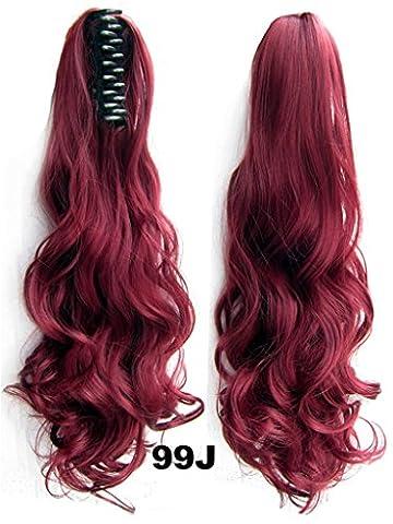 Queen Wig Langwelle-Greifer-Klipp-Pferdeschwanz-in am Haarteil Verlaengerung Haarteil - 99J# Burgundy Red