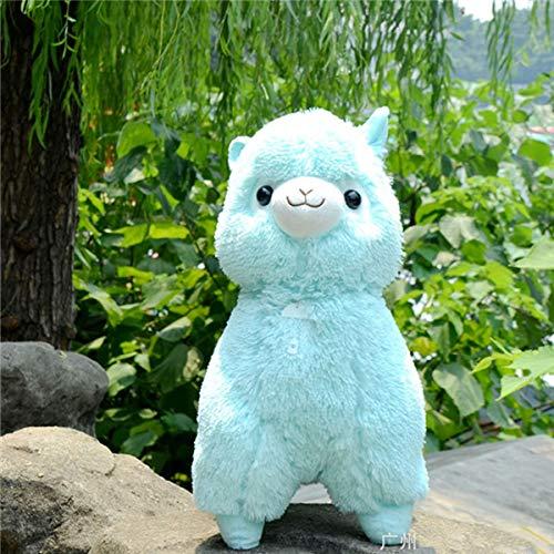 CGDZ 45cm Regenbogen-Alpaka-Plüsch-Schaf-Spielzeug Japanisches weiches Plüsch-Alpaka-Baby 100% Plüsch-Kuscheltier-Alpaka-Geschenke für Kinder Blau 45cm (Plüsch-spielzeug Japanische)