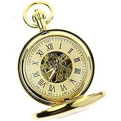 Itemstoday Herren-Taschenuhr, hell glänzend, Kupfer, Messing, römische Ziffern, mechanisch, Antik-Optik
