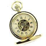 Itemstoday Orologio da taschino da uomo, stile antico, in rame, ottone, lucido, meccanico, con numeri romani
