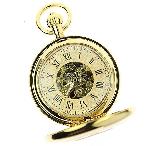 itemstoday-bright-gloss-copper-brass-roman-numerals-mechanical-antique-mens-pocket-watch