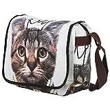 Baumwolle Katzenmotiv Umhänge Schultertasche Medium Damen Messenger Bag