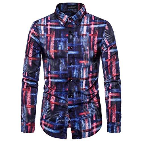 Realde Herren Langarm Hemd T-Shirt Freizeit Kariert Druck Mehrfarbig Knopf Herren Freizeit Langarmshirt Passt super auch zur Jeans Männer BequemTops Oberteil Größe S-XXXL