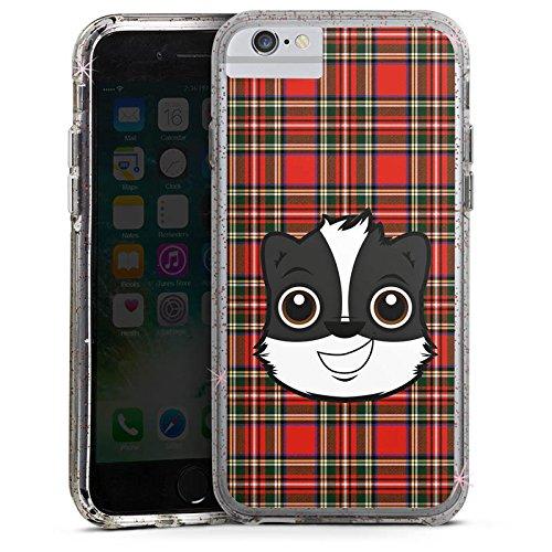 Apple iPhone 6 Plus Bumper Hülle Bumper Case Glitzer Hülle Dachs Comic Karomuster Bumper Case Glitzer rose gold