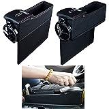 ZZY Erweiterte pu-Leder Seite Tasche aufbewahrungsbox Auto Sitz Füllstoff Spalt aufbewahrungsbox Flasche getränkehalter Münzsammler Auto Innen Zubehör 2 STÜCKE (Farbe : Black)