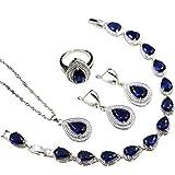 yibenwanligod Anhänger Halskette, Faux Sapphire Inlay Wassertropfen Ohrring Halskette Ring Schmuck-Set Für Frauen Mädchen US 9