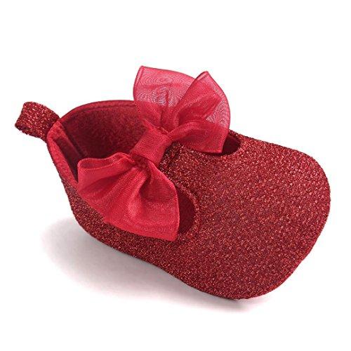 Chaussures de bébé,Fulltime® Baby Girl bowknot Chaussures en cuir Sneaker anti-dérapant souple Sole Toddler Rouge