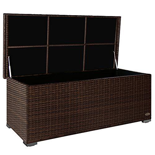 RS Trade 'Sienna' 650l Polyrattan Garten Kissenbox wetterfest (regnet Nicht rein) 155 x 73 x 60 cm, Auflagenbox mit verstärktem Deckel und Gasdruckfedern, als Sitztruhe oder...