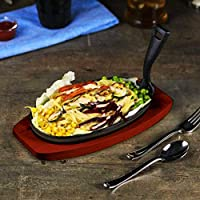 Raj Oval Sizzler Tray Large With Holder, Black, 28 cm