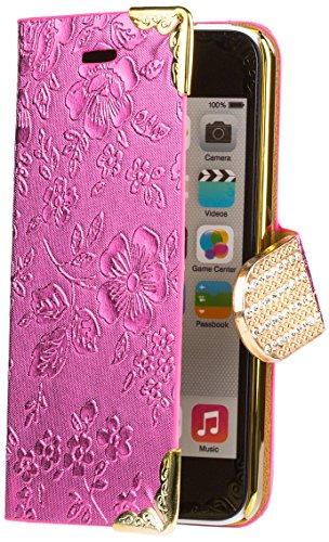 iCues Apple iPhone 5C |  Chrom Blumen Tasche Pink | [Display Schutzfolie Inklusive] Floral Strass Glitzer Glitter Luxus Bling Damen Frauen Mädchen Chrome Book Klapphülle Schutz Etui Handytasche zum au Chrome Wallet Pink