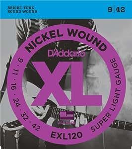 d 39 addario exl120 nickel wound 9 42 super light electric guitar strings nickel. Black Bedroom Furniture Sets. Home Design Ideas