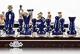 UNIDO DAMAS AZUL - 35cm/14 de a mano juego de ajedrez de madera con damas