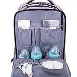 Lekebaby Baby Wickelrucksäcke mit Wickelauflage und Kinderwagen Haken, Grau - 3