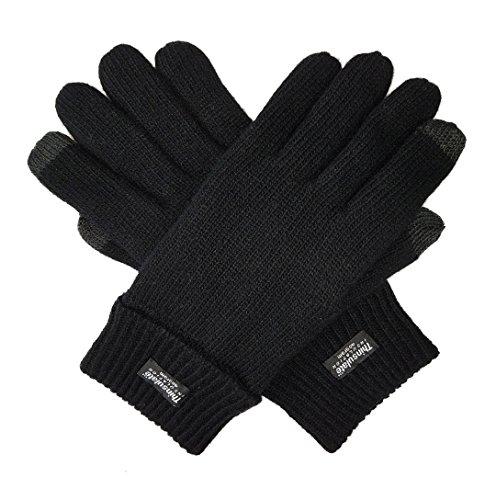 bruceriver-hommes-gants-laine-pure-laine-avec-doublure-thinsulate-taille-l-xl-black-touchscreen