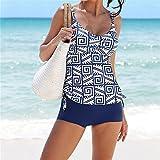 SWIWOTOER Frauen Tankinis Set mit 2 Stück Badeanzug Sport Boxer Shorts Geometrische gedruckt Beachwear XL Blau als Image S