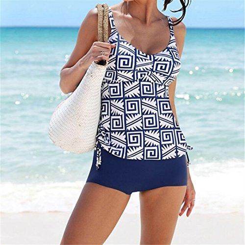 SWIWOTOER Frauen Tankinis Set mit 2 Stück Badeanzug Sport Boxer Shorts Geometrische gedruckt Beachwear XL Blau M