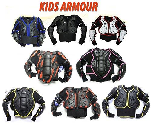 Bambini motocross giacca: XTRM JUNIOR Enduro Corpo Pettorina Moto Corazza, Quad scooter armatura Protettiva Gilet, TUTTI I COLORI (10 Anni, Bianco Rosso)