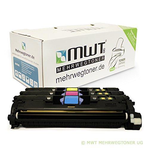 3x MWT Remanufactured Toner für HP Color LaserJet 2550 2820 2840 wie Q3961A-63A Q3961A-Q3963A 122A Color