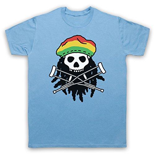 Inspiriert durch Jackass Skull & Crossbones Logo Rasta Unofficial Herren T-Shirt Hellblau