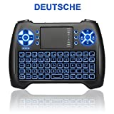 ANEWKODI Mini Kabellose Beleuchtete Tastatur Touchpad-Maus Combo, T16 2.4GHz QWERTY Keyboard, Mini Wireless Tastatur Fernbedienung, für Smart TV, HTPC, IPTV, Android TV Box, XBOX360, PS3, PC, usw.