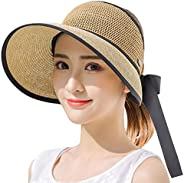 CAPMESSO Sun Visor Hats for Women, Straw Roll up Beach Hats with Wide Brim Chin Strap