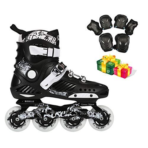 Inline Skates Inlineskates Für Erwachsene, Eisschnelllaufschuhe Für Anfänger, Rollschuhe, Einreihige Herren-Eisschnelllaufschuhe (schwarz) (Farbe : C, größe : EU 42/US 9/UK 8/JP 26cm)