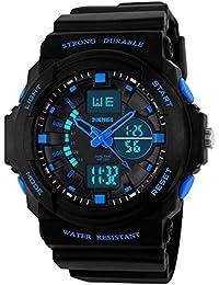 Boy's LED Digital Und Analog Armbanduhr Multifunktional Hintergrundlicht Quarz Wasserfest Outdoor Sport Alarm Jungen Stoppuhr Armbanduhren