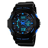Boys Digital-Analogue Watches Outdoor Sports Waterproof Wrist Watch for Children Kids Blue