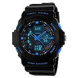 Kinderuhren Jungen,Kinder Digital Uhren Sport Wasserfest Digital Und Analog Armbanduhr Blau