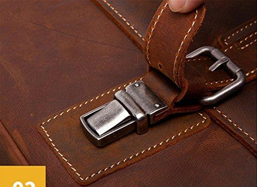 LAIDAYE Art- Und Weisemänner Beutel-Geschäfts-Handtaschen-Aktenkoffer-Schulter-Kurier-Beutel Retro- Männer Lederner Beutel Black