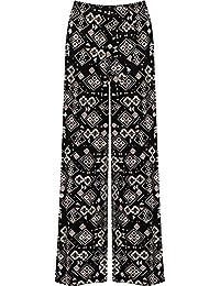 WearAll - Übergröße Damen Blumen Druck Weite Bein Palazzo Hosen - 11 Mustern - Größen 44-54