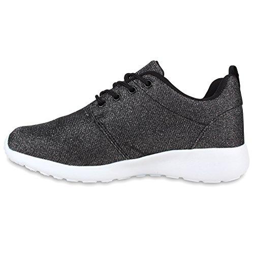 Damen Laufschuhe | Modische Sportchuhe| Sneaker Profilsohle |Glitzer Pailletten Sneakers | Runners Snake Blumen Dunkelgrau Glitzer