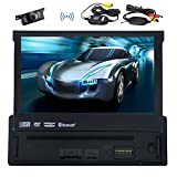 PUPUG Single DIN Car GPS Navigation DVD/CD Player 7 inch Touchscreen Support Bluetooth/SW-Control/Reverse