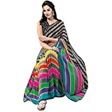 Saree(Clothsfab Saree For Women Party Wear Half Multi Colour Printed Sarees Offer Designer Below 500 Rupees Latest Design Under 300 Combo Art Silk New Collection 2018 In Latest With Designer Blouse Beautiful For Women Party Wear Sadi Offer Sarees Collecti
