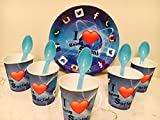 #4: Birthday Party Disposable Pack - I Love Being Social Design (Pack of 10pc plates,10pc glasses & 10 pc Spoons)